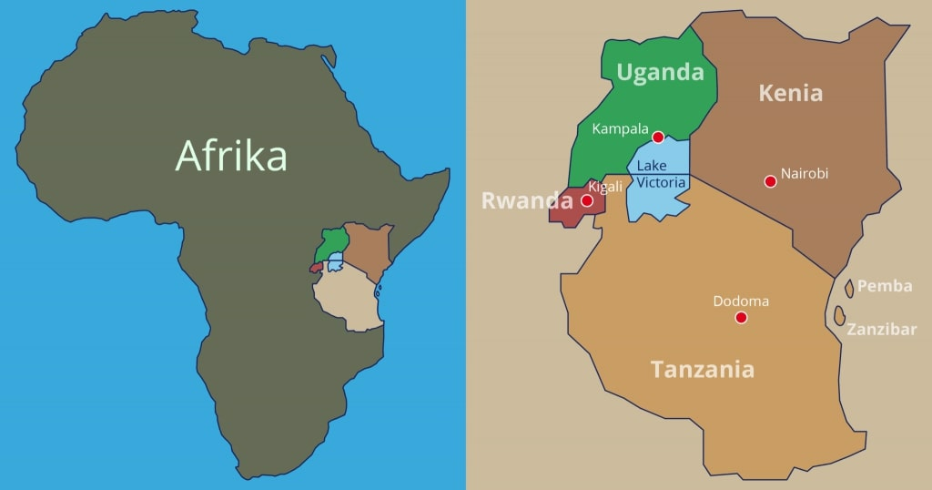 Kaart van Oeganda